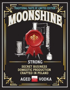 Etykieta MOONSHINE STRONG AGED VODKA
